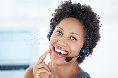 Buy stock photo Closeup of female customer service agent smiling with headset