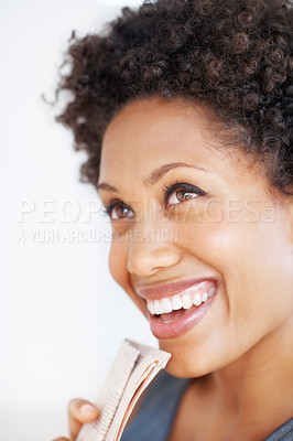 Buy stock photo Closeup of attractive business woman laughing on plain background