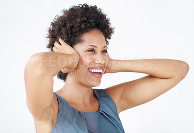 Buy stock photo Beautiful African American woman covering ears in cheerful mood