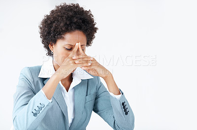 Buy stock photo Exhausted African American business woman in stress
