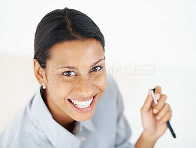 Buy stock photo Closeup of smiling business woman looking at you