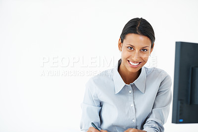 Buy stock photo Portrait of confident female executive working at office desk - copyspace