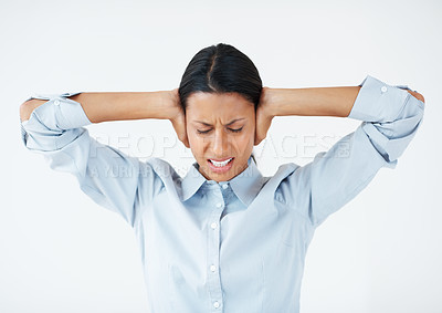 Buy stock photo Mixed race business woman holding head in frustration over white background