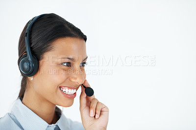 Buy stock photo Closeup of mixed race female customer service representative wearing headset - copyspace