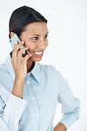 Female executive using cellphone
