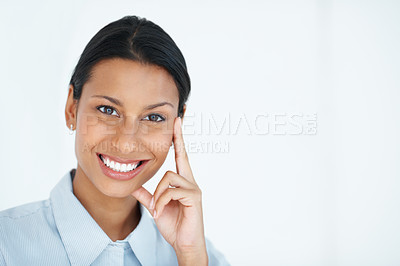 Buy stock photo Successful business woman smiling over white background