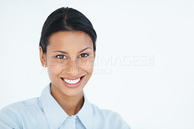Buy stock photo Portrait of charming female executive smiling over white background