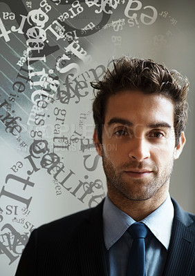 Buy stock photo Portrait of a handsome associate surrounded by a mass of text and wording - Creativity