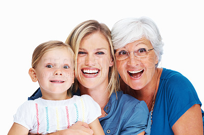 Buy stock photo Portrait of happy senior woman with daughter and cute granddaughter smiling over white background