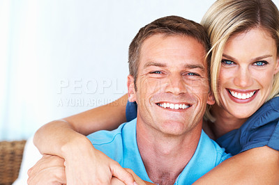 Buy stock photo Closeup portrait of happy middle aged woman embracing handsome man