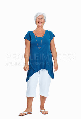Buy stock photo Full length shot of a senior woman standing against a white background