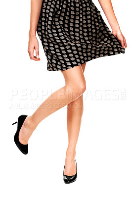 Buy stock photo Cropped image of a woman's legs in high heels - Isolated
