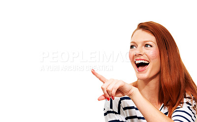 Buy stock photo A pretty young woman pointing and laughing - Copyspace