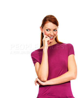 Buy stock photo A young woman deep in thought biting her finger - Isolated