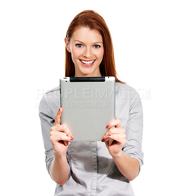 Buy stock photo Portrait of a young woman holding her digital tablet in front of her