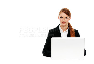 Buy stock photo Portrait of a young executive sitting at her laptop
