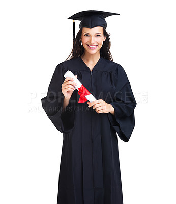 Buy stock photo Proud young woman smiles at the camera at her graduation - isolated