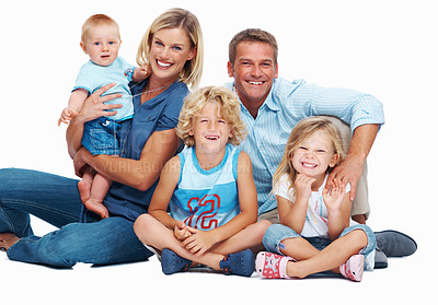 Buy stock photo Portrait of happy family smiling over white background