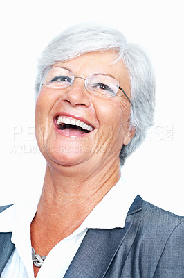 Buy stock photo Closeup of cheerful senior business woman laughing over white background