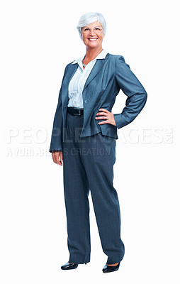 Buy stock photo Full length of confident senior business woman smiling over white background