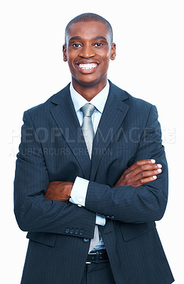 Buy stock photo Portrait of happy African American business man smiling over white background