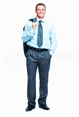 Buy stock photo Full length of relaxed business man with coat over shoulder over white background