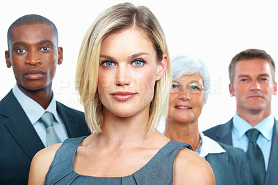 Buy stock photo Portrait of beautiful business woman with dedicated colleagues on white background