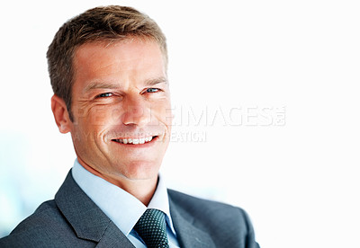 Buy stock photo Closeup of smart business man smiling on white background - copyspace