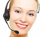 Face of a business woman with headset