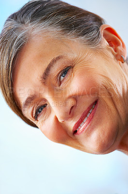 Buy stock photo Portrait of an old senior business woman in a office setting.