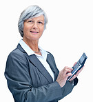 Smiling mature business woman using a calculator