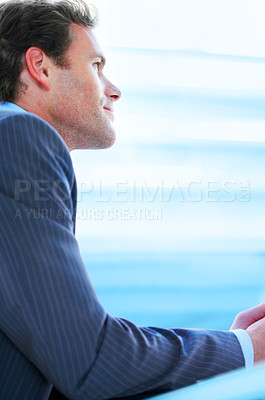 Buy stock photo Visionary mature business man standing comfortably