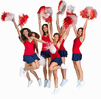 Team of cheerleaders jumping out of joy on white
