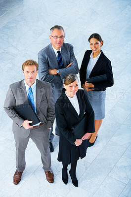 Buy stock photo Business partners standing in a light and modern office