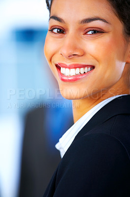 Buy stock photo Closeup of a laughing business woman at a meeting with his colleagues