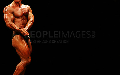 Buy stock photo Cropped view of a bodybuilder isolated on a black background - Norwegian Competition