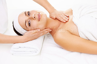 Buy stock photo Portrait of a young woman getting a beauty treatment isolated on white