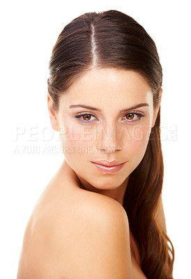 Buy stock photo Studio shot of a beautiful young woman with perfect skin isolated on white