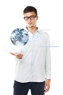 Buy stock photo A man holding a small globe in his hand with hipster glasses and a white background