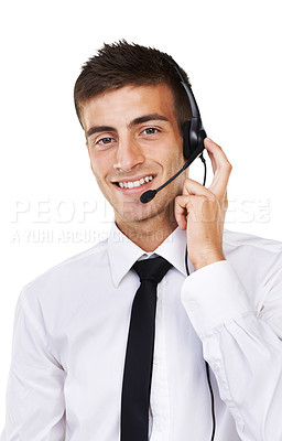 Buy stock photo Portrait of a smiling business man wearing a headset