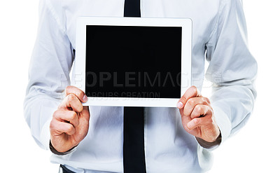 Buy stock photo A cropped shot of a man holding a touchscreen