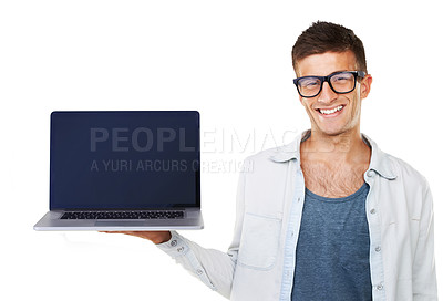 Buy stock photo A smiling casual male holding up a laptop
