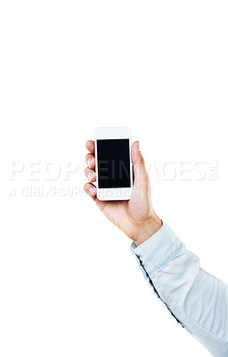 Buy stock photo A hand holding up a smart phone with a white background