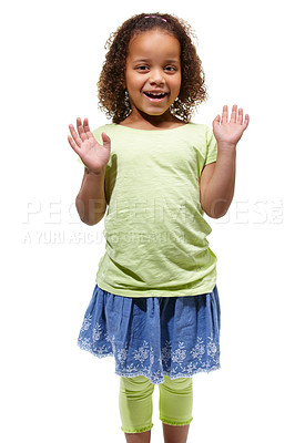 Buy stock photo Cute little african american girl standing against a white background with her hands raised