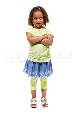 Buy stock photo Cute little african american girl standing against a white background with her arms folded