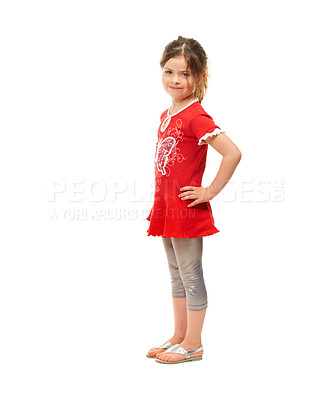 Buy stock photo Cute little girl standing against a white background