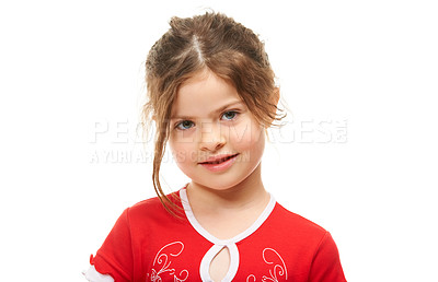 Buy stock photo Little girl looking shyly at you against a white background
