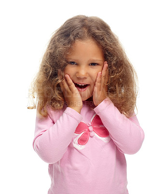 Buy stock photo Cute little girl looking surprised against a white background