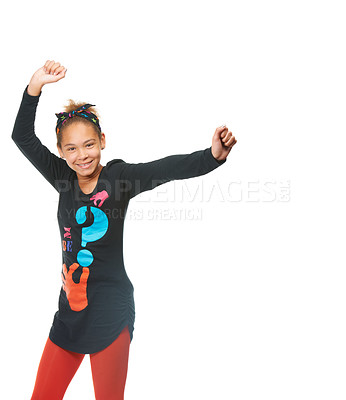 Buy stock photo Studio shot of a young girl dancing isolated on white