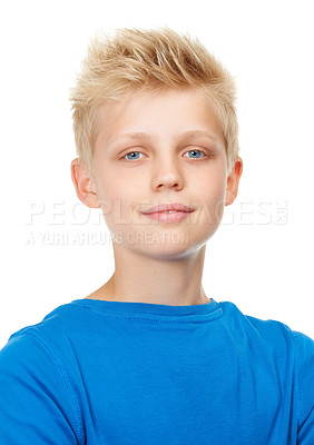 Buy stock photo Studio portrait of a blond teenage boy against a white background